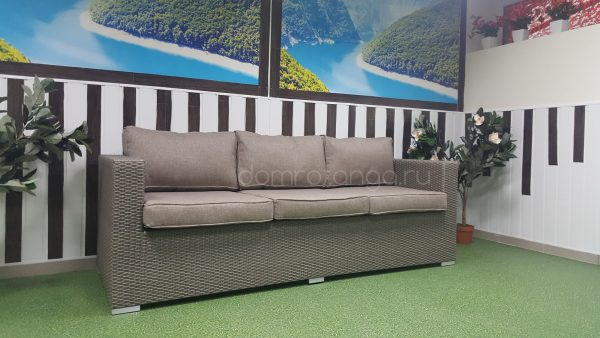 Плетеный диван «Louisiana» mocco, 3-местный