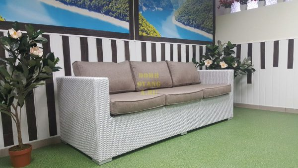 Плетеный диван «Louisiana» white & beige, 3-местный