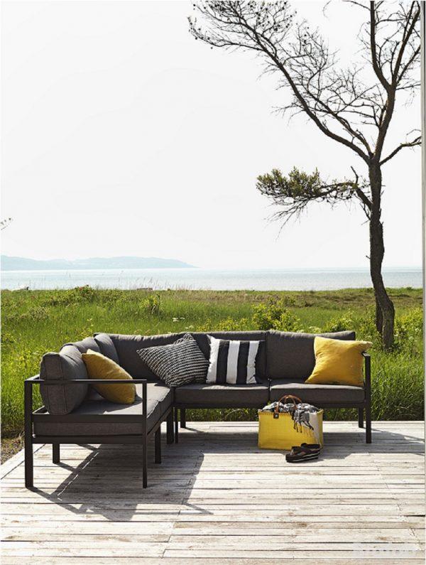 """Садовая мебель """"Leone"""" с угловым диваном, цвет черный/серый"""