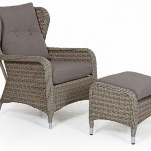 Кресло из ротанга с пуфом «Colby beige» Brafab