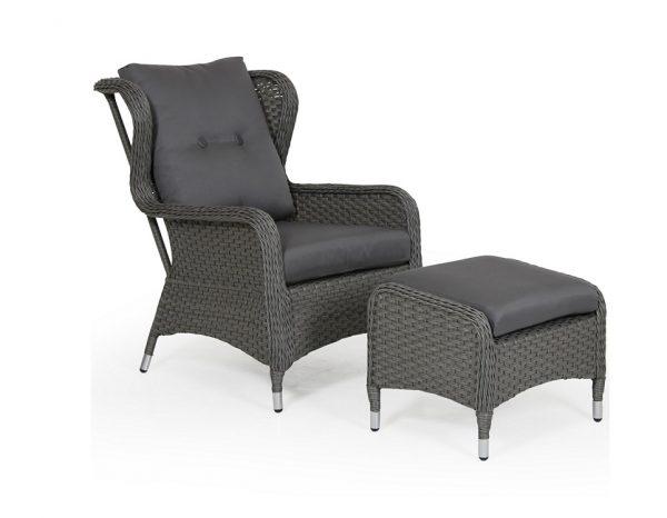 Кресло из ротанга с пуфом «Colby grey» Brafab
