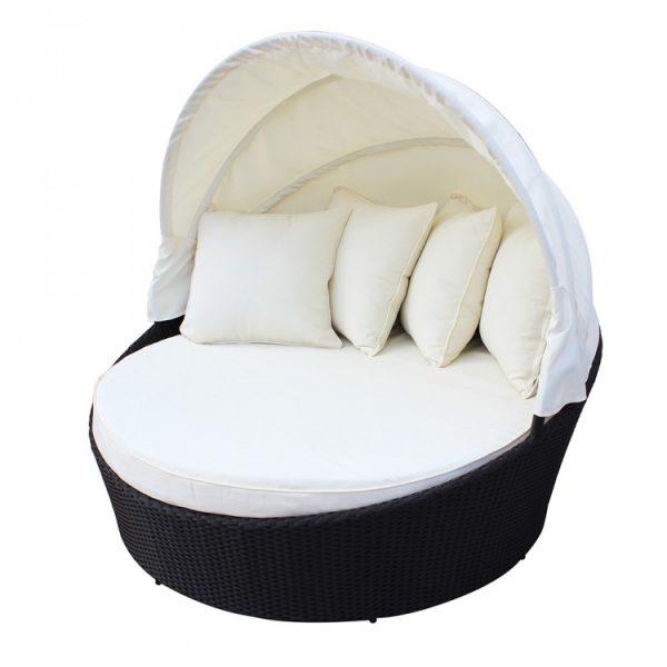 """Плетеный шезлонг-диван с тентом """"Globo"""", белый"""