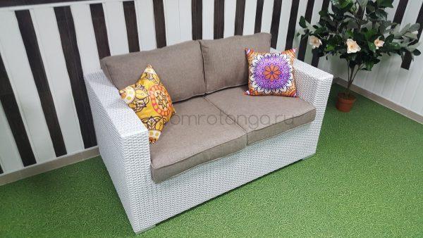 Плетеный диван «Louisiana» white&beige