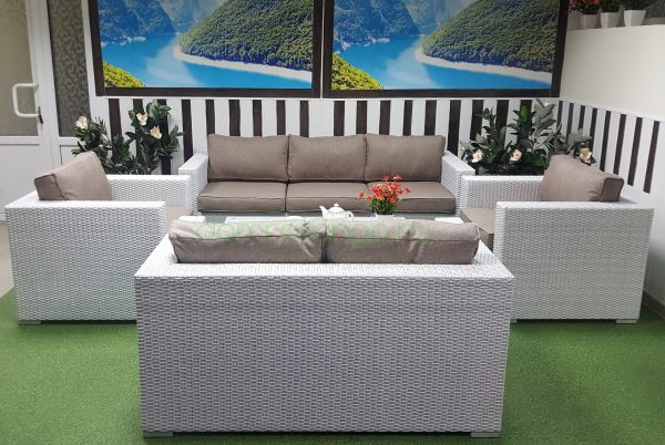 Плетеная мебель «Louisiana» patio set white&beige