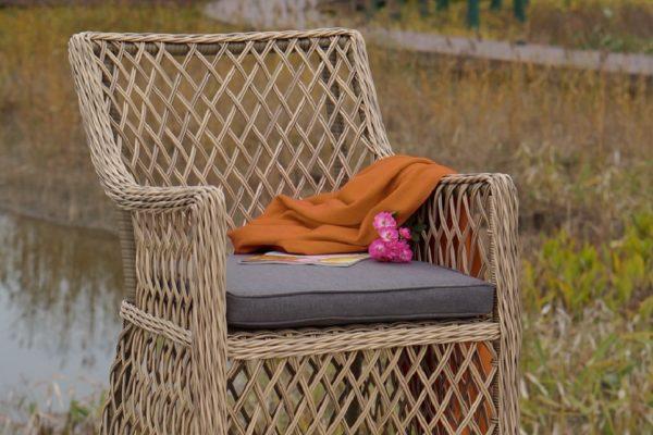 "Плетеное кресло ""Латте"", цвет серо-желтый"
