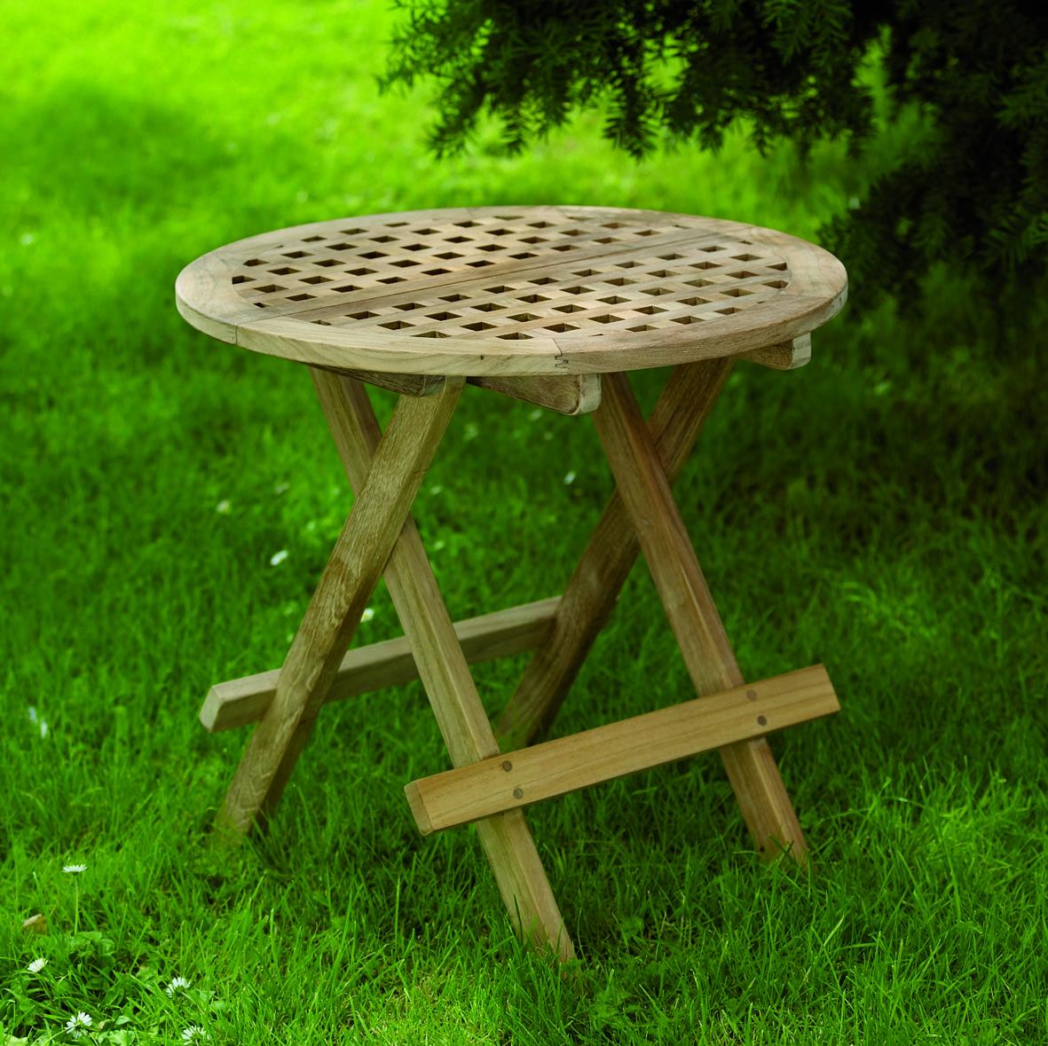 "Кофейный стол из тика ""Moni"", Ø 50 см"