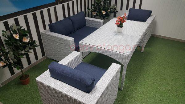 Плетеная мебель «Louisiana» 2 white&blue