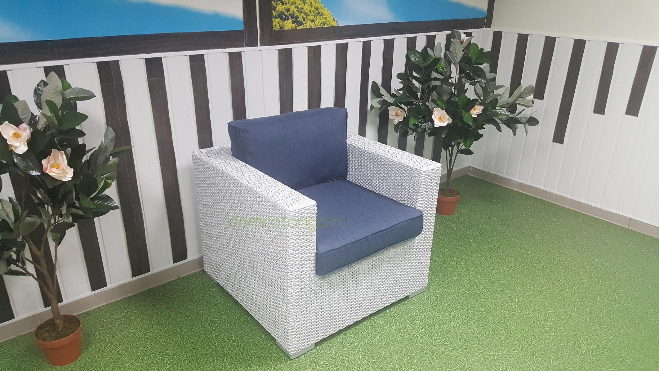 """Плетеное кресло """"Louisiana"""" white blue"""