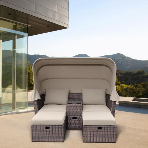 """Плетеная мебель лежак с тентом """"OASIS"""" brown"""