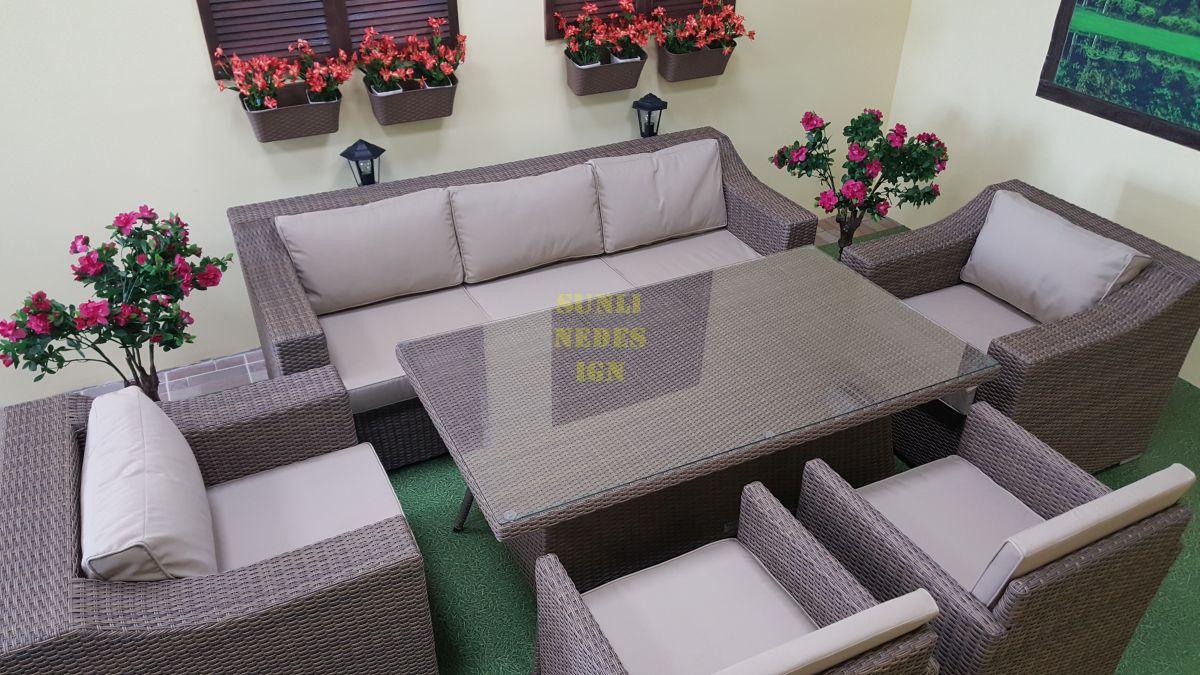 "Плетеный диван ""Glendon"" beige 3-х местный"