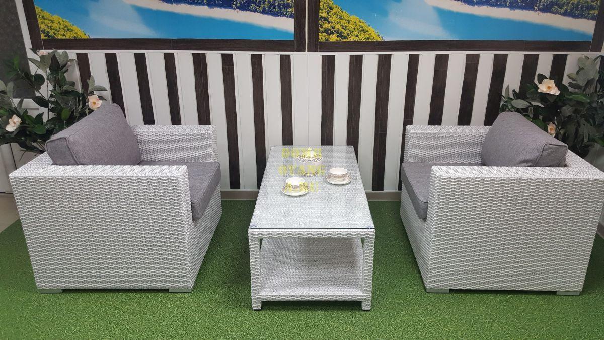 "Комплект плетеной мебели ""Louisiana"" cafe set white & grey"