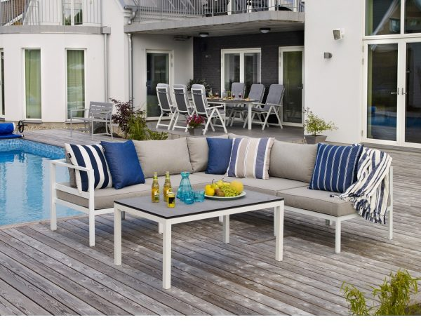 """Садовая мебель """"Leone"""" с угловым диваном, цвет белый/серый"""