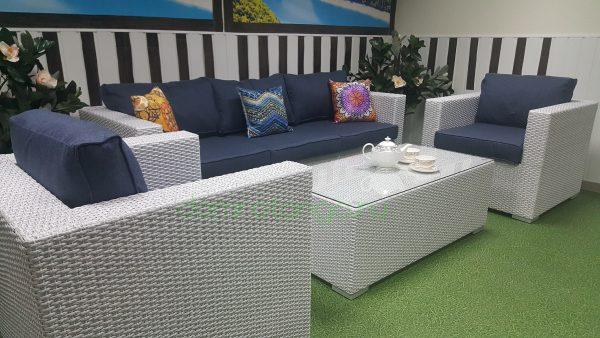 Плетеная мебель «Louisiana» white&blue