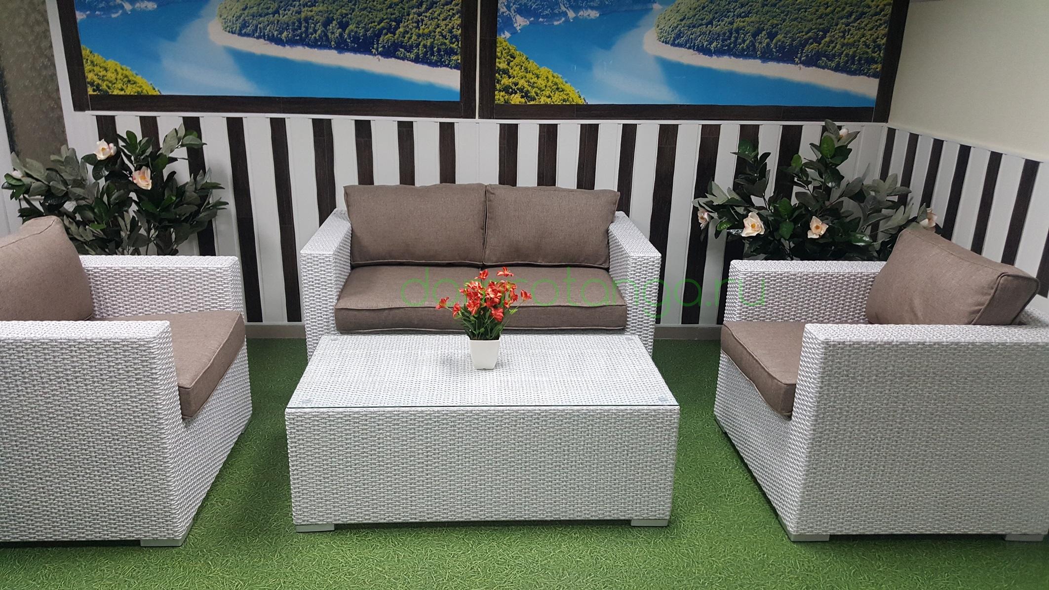 Плетеная мебель «Louisiana» lounge white&beige