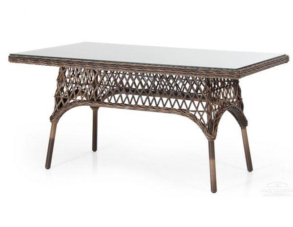 Плетеный стол «Beatrice brown» 150 см Brafab