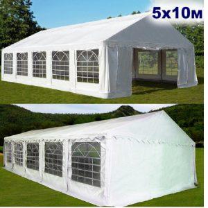 """Шатер-павильон садовый 5×10 """"AFM-1029W"""", белый"""