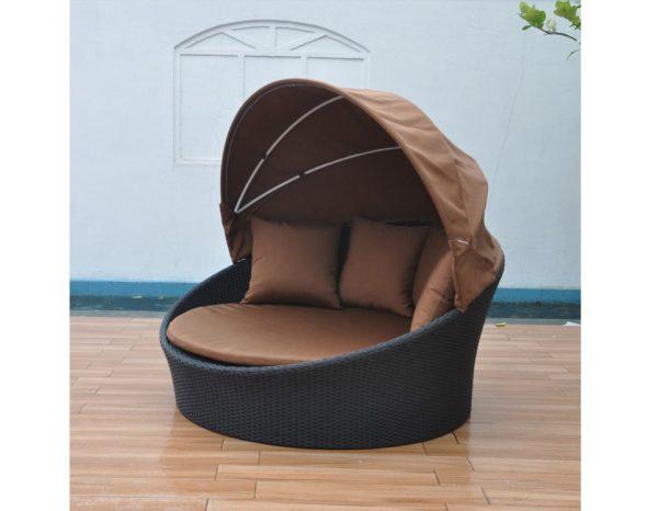 """Плетеный шезлонг-диван с тентом """"Globo"""", коричневый"""